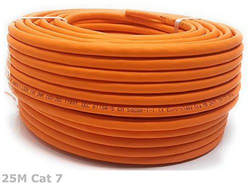 Cat 7 Verlegekabel Gigabit Netzwerkkabel S/FTP PIMF 1000 MHz Cat7 4x2xAWG23 LSZH Verkabelung Ethernet LAN Kabel CAT7 Orange (25M)
