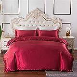 Chanyuan Ropa de cama lisa de 135 x 200 cm, 2 piezas, para verano, satén sedoso, con cremallera y funda de almohada de 80 x...