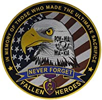 Never Forgotten Fallen Heroes 12インチ ラウンド刺繍バックパッチ PL4808kD12