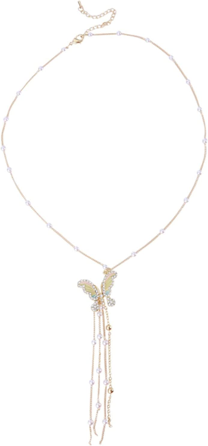 ZRSYH Ladies Necklace Faux Pearl Necklaces 3D Butterfly Peadant Necklace Jewellery Women Collar Necklace Long Tassel Crystal Necklace,Golden