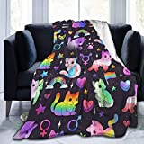Yuanmeiju Cute Space Cats Flannel Blanket Throw Super Soft Plush Luxury Lightweight for Sofa Couch Bed for Adult