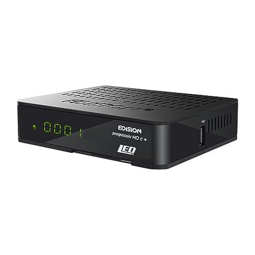 Edision Progressiv HDC + Nano Plus - Receptor de satélite LED Full HD (HDMI, SCART, USB 2.0, WiFi, Lector de Tarjetas Conax, Pantalla), Color Negro