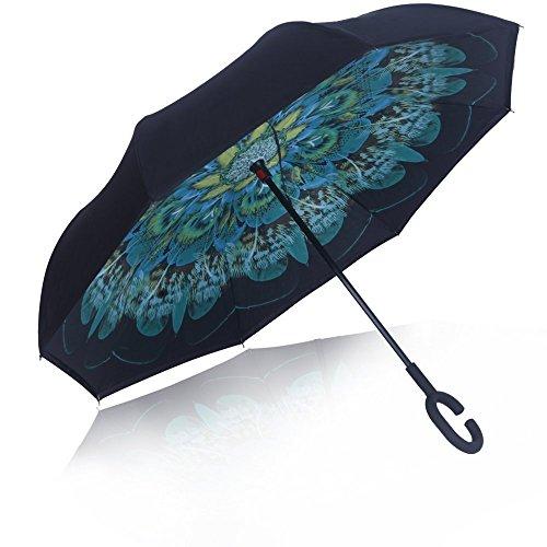 YOUGO Inverted Umbrella Reverse Plegable Doble Capa Con C-forma De La Manija Para La Protección De La Lluvia Al Aire Libre De Coches(Verde)