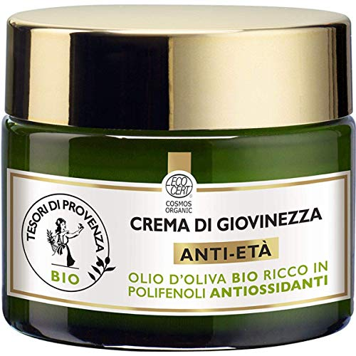 Tesori di Provenza Crema Viso Anti-età Giorno BIO, Crema di Giovinezza, con Olio d Oliva Biologico, Ricco in Polifenoli Antiossidanti, 50 ml