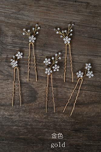 Diamantes de imitación flor brillante novia corte de pelo horquilla adornos para el cabello accesorios para el pelo tocado europeo conjunto de oro
