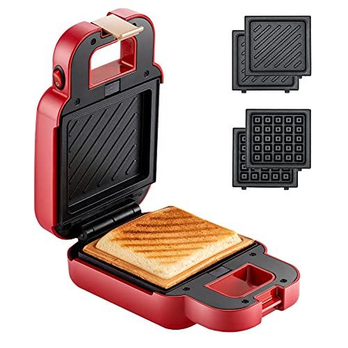 VCJ Mini Sandwich Maker, Portable 2 in 1 Waffle Maker Panini Press Grill (Red)