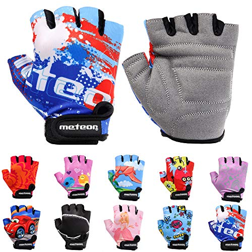 Meteor Unisex Kinder Fahrradhandschuhe Bike - Gel BMX Handschuhe, BLUE, Gr.-Jr M/ Handweite- 7-7.5cm
