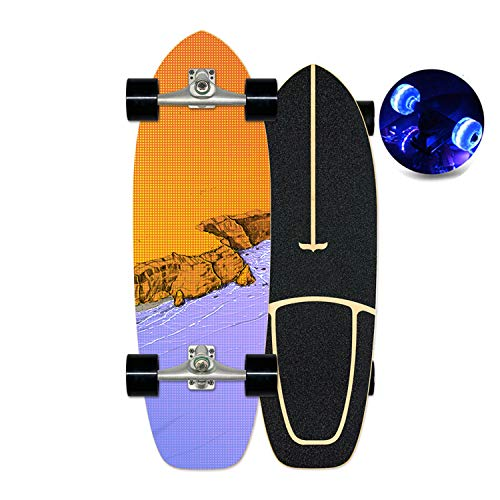HMAKGG Monopatín Skateboard Al Aire Libre para Adolescentes Y Adultos Principiantes, Longboard Surfskate Completo Estándar para Niños Y Adultos Principiantes, con Rodamientos ABEC-7,C