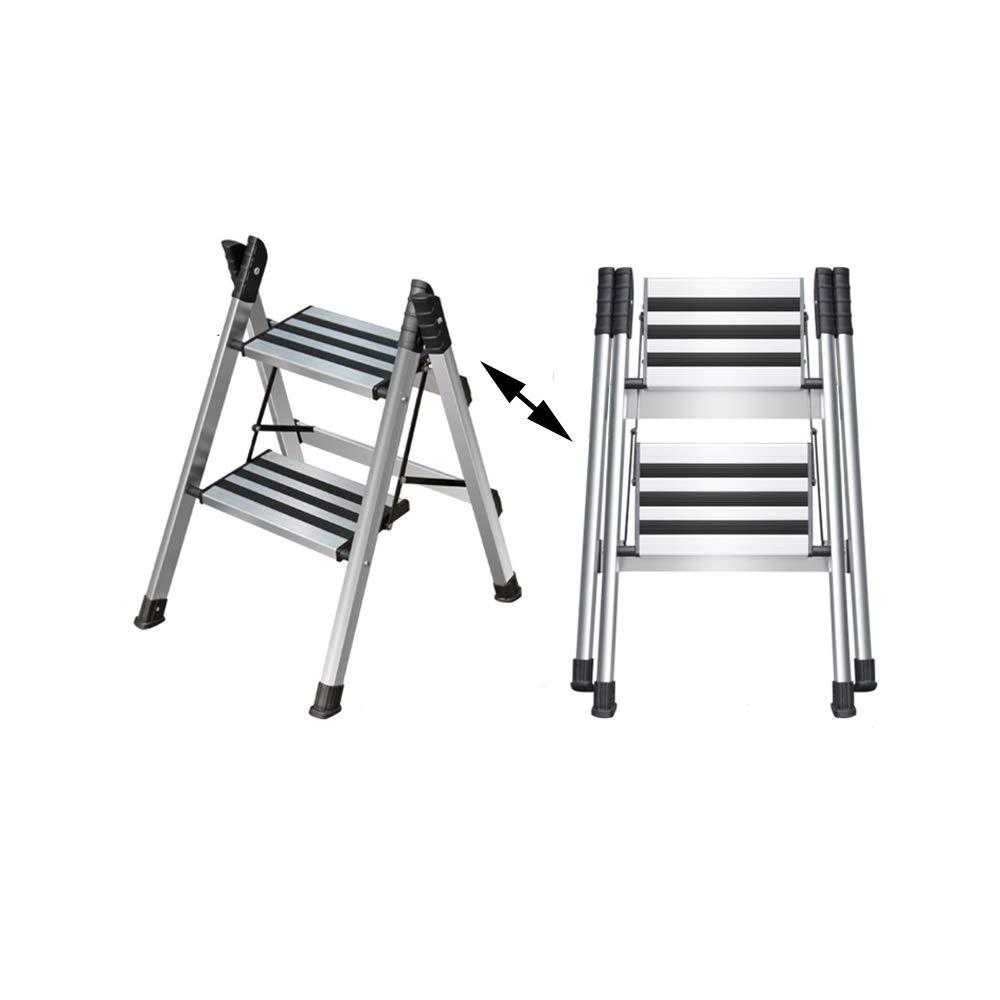 XSJZ Escalera Plegable, Aleación de Aluminio, Plata Gruesa Escalera Multifunción Pedal de Ensanchamiento Espiga Escalera de Ingeniería Telescópica Escalera de 2 A 4 Escalones Escalera Plegable: Amazon.es: Hogar