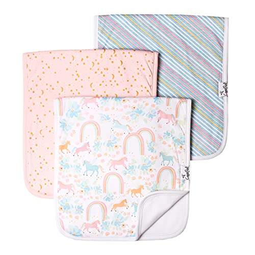 """Baby Burp Cloth Large 21''x10'' Size Premium Absorbent Triple Layer 3 Pack Gift Set """"Whimsy"""" by Copper Pearl"""
