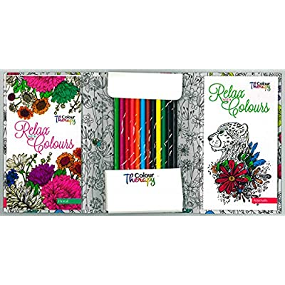 ADULT COLOURING BOOK RELAX WITH COLOUR TRAVEL SET-6844 Pink