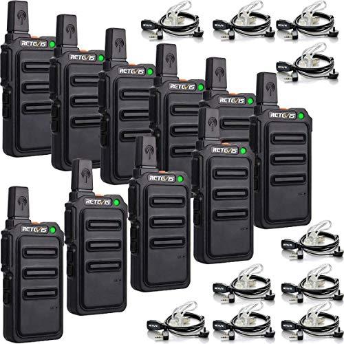 Retevis RT619 Walkie Talkie Profesional, PMR 446 sin Licencia 16 Canales, VOX 50CTCSS/210DCS, Recargable Transmisores-receptores, Radio Bidireccional con Auriculars para Familia, Colegio(Negro, 5 Par)