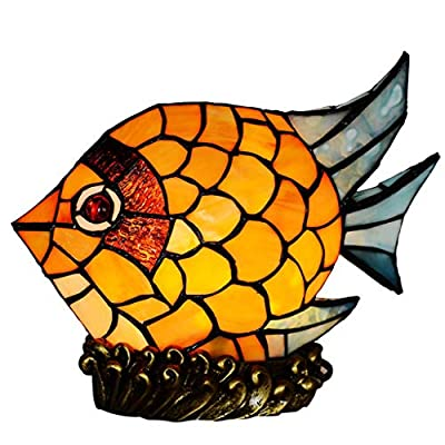 SunHai Vintage Fish Small Night Light, Stained Glass Kids Table Lamp with Resin Base,Mini Decoration Table Lights