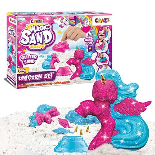 CRAZE Magic Sand Unicorn Set 200 g Glitzersand mit Einhornformen Dreifarbig 29725 29725-Juego Arena Brillante con Formas de Unicornio, Color Tricolor