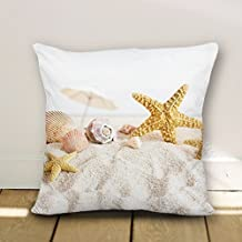 Seaside Starfish Shell Sand #:295 Pillow Case Cushion Cover Home Sofa Decorative 18 x 18 Squares
