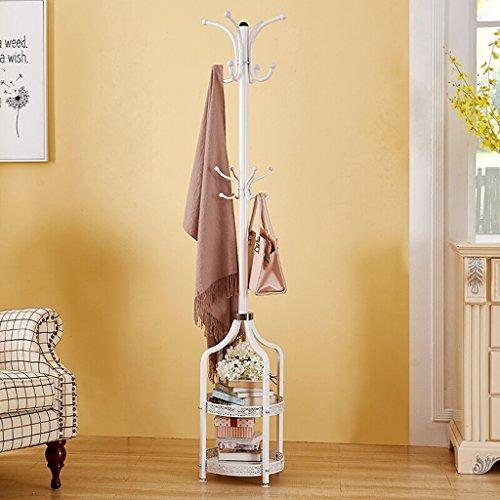 SKC Lighting-Porte-manteau Porte-manteau de sol en métal matériel rond 2-couche base simple moderne cintre chambre sac supports blanc (38 * 38 * 180cm)