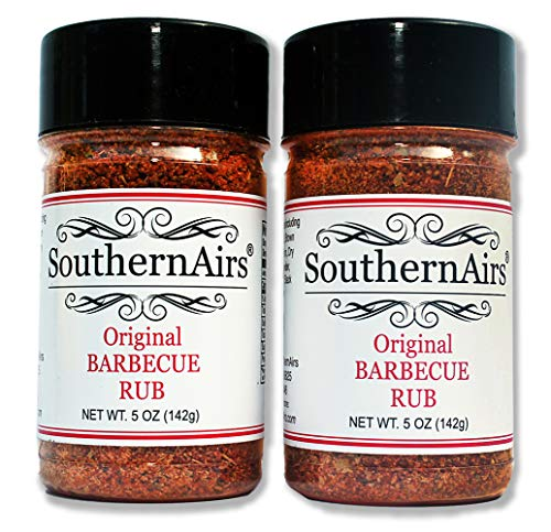 SouthernAirs Original BBQ Dry Rub / 10 fresh traditional natural spices / authentic - no artificial additives / fantastic for beef, chicken, ribs, pork, seafood and more / 2 pack of 5-oz bottles