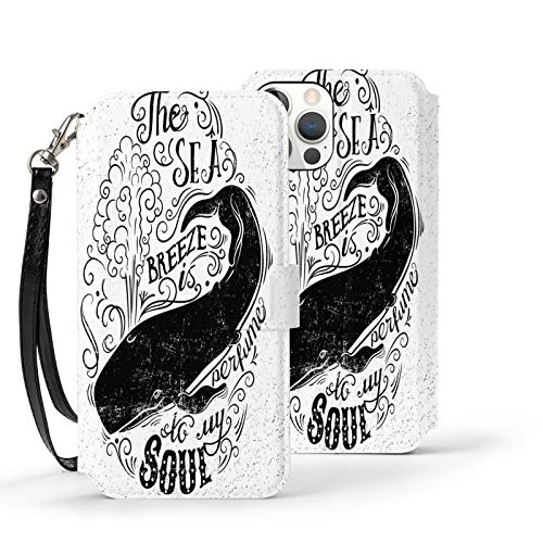 Y-Store Iphone12 Series Flip Case with Card Holder PU Leather+TPU Cover Whale Breeze Is Perfume To My Soul Phrase with Vintage Label Whale Marine Life Graphic Black White