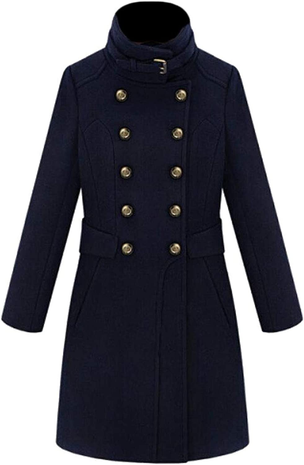 Esast Women's Laple Winter Classic Double Breasted Long Trench Coat Overcoat