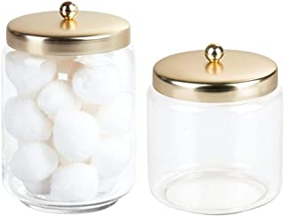mDesign Glass Bathroom Vanity Apothecary Storage Organizer Canister Jar for Cotton Balls, Swabs, Makeup Sponges, Bath Salts, Hair Ties, Jewelry - Set of 2 - Clear/Gold/Brass