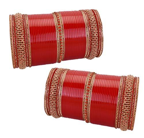 iCraftJewel Indische Traditionelle Armreif Set Bollywood Design Dulhan Braut Hochzeit Suhag Rote Chuda-Sammlung