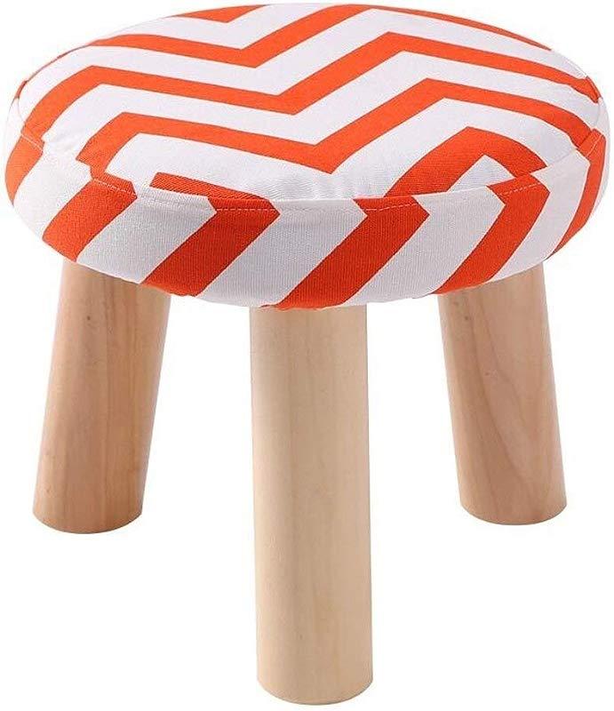 Carl Artbay Wooden Footstool Orange Stripes Three Legged Stool Round Cotton Linen Cloth Shoe Shoes Washable Household Home