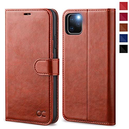OCASE iPhone 11 Pro MAX Hülle Handyhülle [Premium Leder] [Standfunktion] [Kartenfach] [Magnetverschluss] Tasche Flip Hülle Etui Schutzhülle Leder für Apple iPhone 11 Pro MAX Cover (Braun)