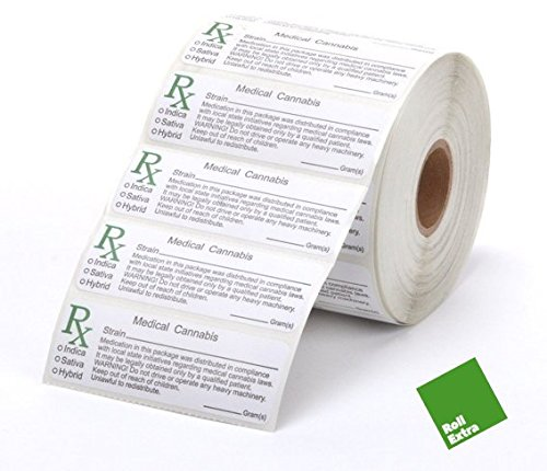 Roll Extra 200X RX MEDICAL LABELS - stickers etiketten voor knijpen pop top potten baden, recept container flacons, snap caps, compliant stam labels (FREE RE certificaat)