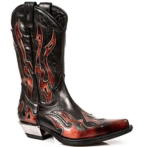 New Rock Boots - Hombre Botas Estilo 7921 S2 - Rojo & Negro - EU 43