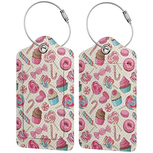 VORMOR Gepäckanhänger Kofferanhänger mit Adressschild,Leckerer süßer Lutscher-Bonbon-Makronen-Cupcake und Donut auf Tupfen-Muster,Kofferanhänger zur Identifizierung von Tasche,(2 Stück)