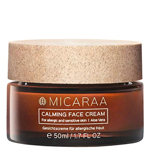 MICARAA Calming Face Cream 50ml Parfümfrei Mit Aloe Vera Gel & Vitamin E, Neurodermitis Creme Für Allergische Haut, Vegane Tages- und Nachtcreme, Anti Aging Feuchtigkeitscreme, Naturkosmetik