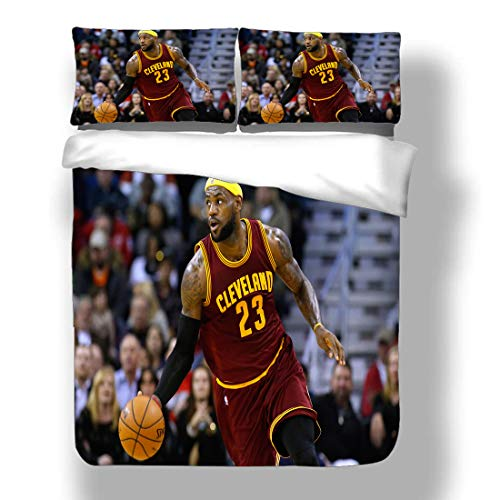 Duvet Cover Set LeBron Los Angeles Basketball Player 23 Bedding King James Lakers Super Star Perimeter Shot Three-Point Play Quilt Coverlet with 2 Pillow Shams Cleveland Miami Cavaliers Heat
