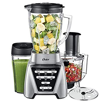 Oster Blender | Pro 1200 with Glass Jar 24-Ounce Smoothie Cup and Food Processor Attachment Brushed Nickel - BLSTMB-CBF-000