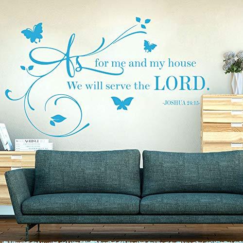 mlpnko Wandaufkleber wie für Mein eigenes Haus, Werden wir Joshua Jehova Wohnzimmer Esszimmer Badezimmer Schlafzimmer Flur Kinderzimmer72x42cm servieren