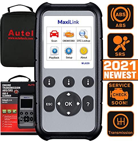 Autel MaxiLink ML629 Diagnósticos Coche OBD2 Escáner para ABS/SRS/Motor y Transmisión 4 Sistemas Diagnosticar, con Auto Vin, Prueba Lista-Versión Actualizada de ML619
