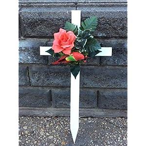 cemetery cross, memorial floral cross, tropical bird silk flower arrangements