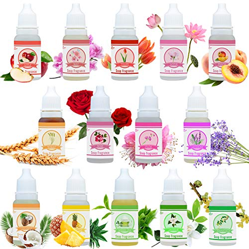 Aceite Fragancia de Jabón - 14 Fragrance de Jabón para Fabricación Bomba de Daño - Perfumes de Bomba de Baño Líquidos para DIY Cosméticos, Arte, Producto de Baño - 10 ml Cada Uno
