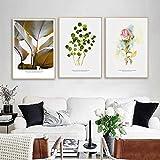 Impresión en lienzo Plantas nórdicas Hojas Póster e impresión Flor rosa Lienzo Pintura Escandinava Arte de la pared Decoración Imagen -60x90cm / 23.6 'x35.4' X3 Sin marco