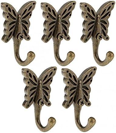 SONONIA 12個 アンティーク 壁掛け 蝶 コート/ローブ フック ドア/服/タオル ハンガー ウォールハンガー