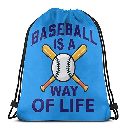 QUEMIN Baseball Is My Life Drawstring Backpack Bag Men Women Sport Gym Sackpack Cinch Bag For School Yoga Gym Swimming Travel 14.2 x 16.9 Inch/36 x 43cm