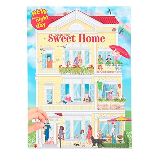 Depesche-DP-0011415 Libro para Colorear Create Your Sweet Home, Aprox. 30 x 22 x 0,5 cm, con 24 páginas ilustradas de Colores y 3 Pegatinas de Doble Cara, (11415)