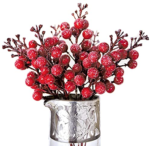 Winter Berry Picks/Red Holiday Berries Pick/Decorative Christmas Artificial Berry Stems for Wreaths, Garland, Crafts DIY Ornaments/Xmas Decor Craft/Set 8 Glitter Sprays Artificial Snow