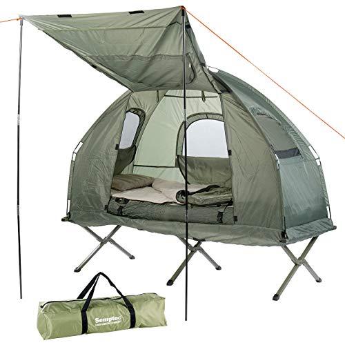 Semptec Urban Survival Technology Campingzelt: 4in1-Zelt mit Feldbett, Winter-Schlafsack, Matratze und Sonnenschutz (Zelt mit integriertem Feldbett)