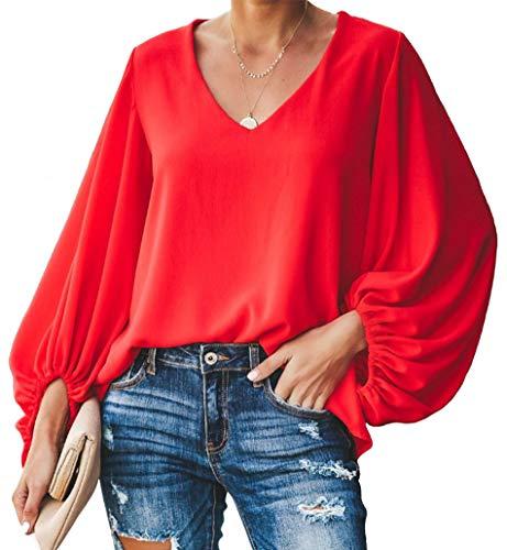 Botanmu Mujer Camisetas Manga Murciélago Camisetas Gasa Manga Larga Cuello en V Camiseta Suelta Verano (Nero/Rosso/BLU/Rosa)