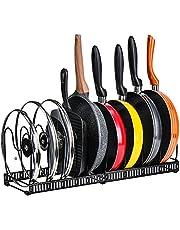 Toplife伸縮式 フライパンラック キッチン 鍋収納ラック 10本仕切りパーツ付き フライパン 鍋 鍋蓋置き(黒)
