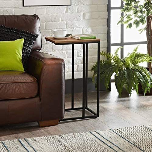 Rubyz Dark Wood Brown Side Sofa Table, Coffee End Table with Iron Stand Sturdy & Durable with Elegant Look & Colour