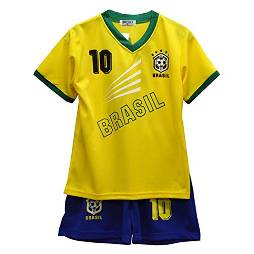 Default Enfants - Ensemble Maillot & Short de Football été - Équipe: Brésil - Taille: 2-3 Ans