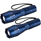 2 PACK, SIX FOXES LED Tactical Flashlight, Super Bright S2000 Flashlight, CREE T6 Flashlight with 5 Modes, Zoomable, Waterproof Flashlight Torch Light for Hiking, Camping, Outdoor Sports and Emergency