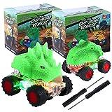 Herefun 2 Piezas Coches de Dinosaurios, Juguete de Vehículos Dinosaurio con Luz LED y Sonido Realista, Juguete de T-Rex y Triceratops para Niños Niñas Regalos de Cumpleaños (Verde - 2pcs)