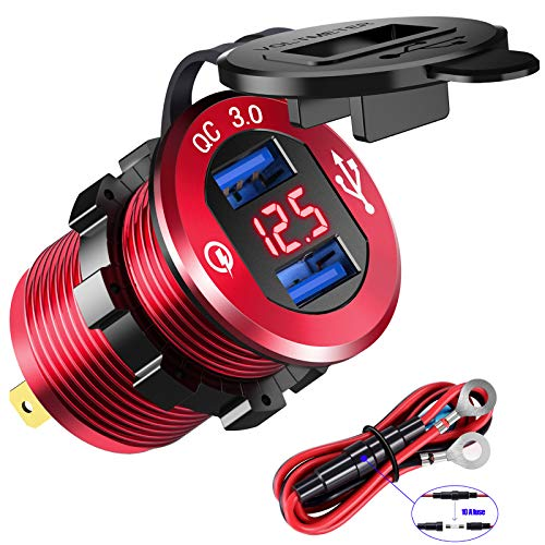 YONHAN Quick Charge 3.0 Dual USB Charger Socket, Waterproof Power Outlet Fast Charge with LED Voltmeter & Wire Fuse DIY Kit for 12V/24V Car Boat Marine ATV Bus Truck and More - Red